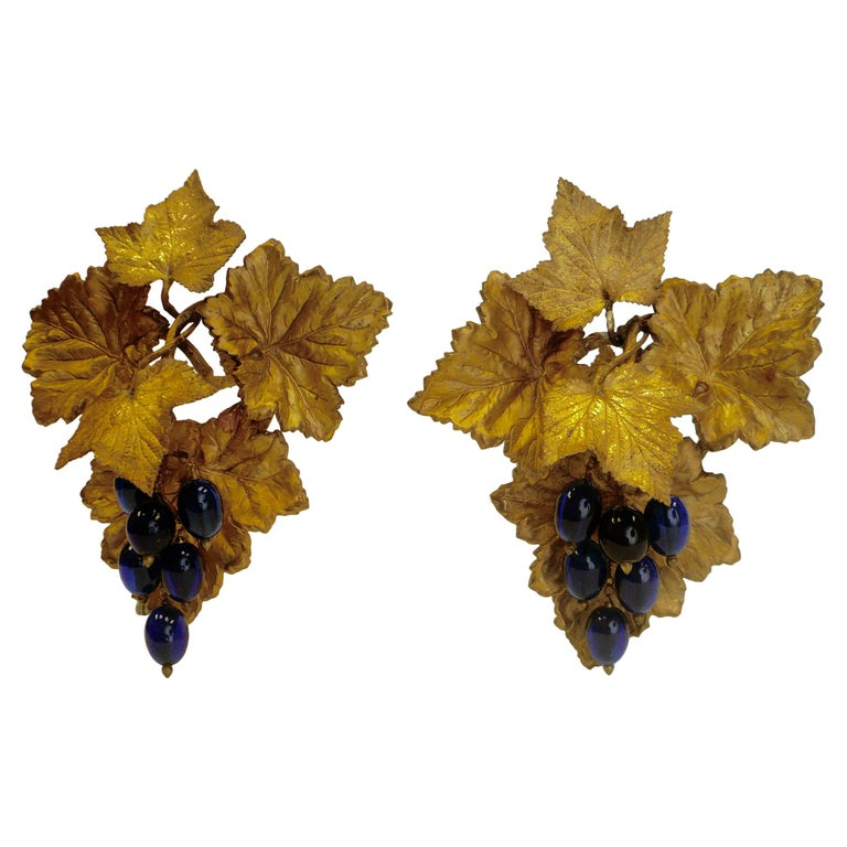 Victorian Gilt Brass Curtain Tiebacks with Cobalt Blue Blown Glass Grapes, Pair For Sale
