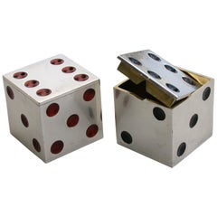 Pair of Victorian Novelty Scottish Silver and Enamel Dice Peppers Edinburgh 1907