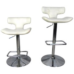 Pair of Vintage Adjustable Height Swivel Stools
