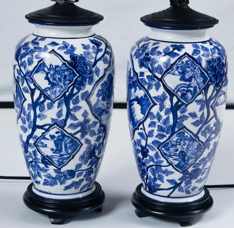 Pair of Vintage Asian Ceramic Lamps, 20th Century For Sale 7