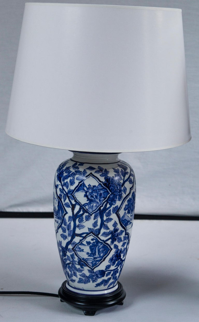 Pair of Vintage Asian Ceramic Lamps, 20th Century In Good Condition For Sale In Chappaqua, NY