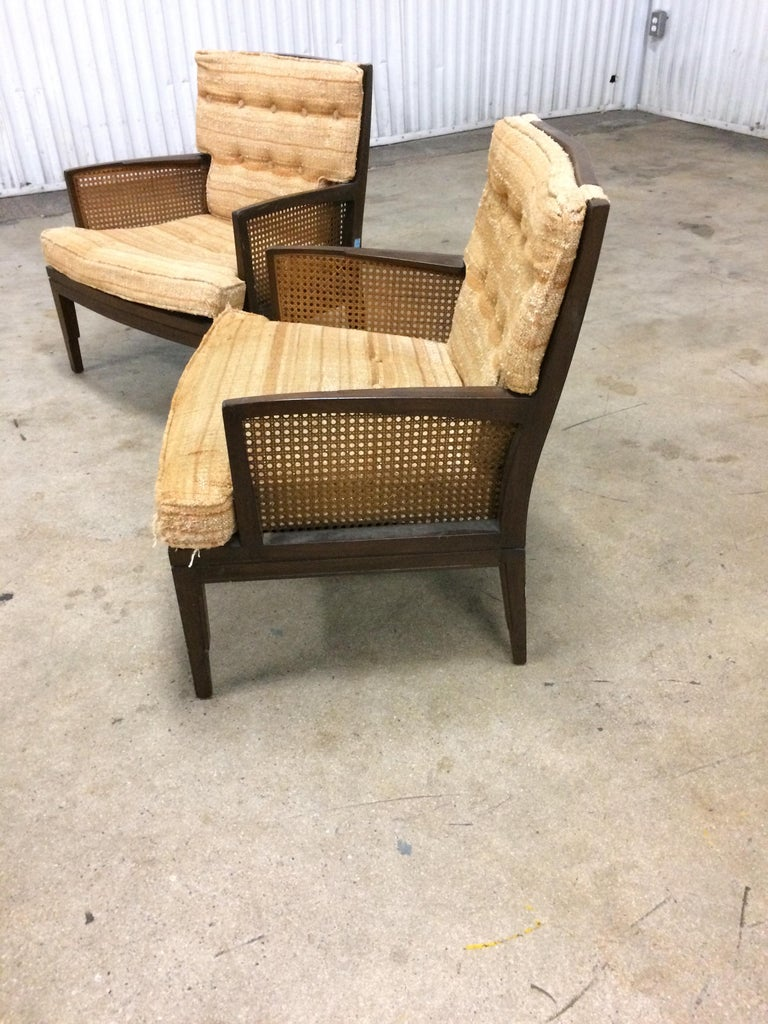 Mid-Century Modern Pair of Vintage Baker Cane and Mahogany Lounge Chairs, 1960s For Sale