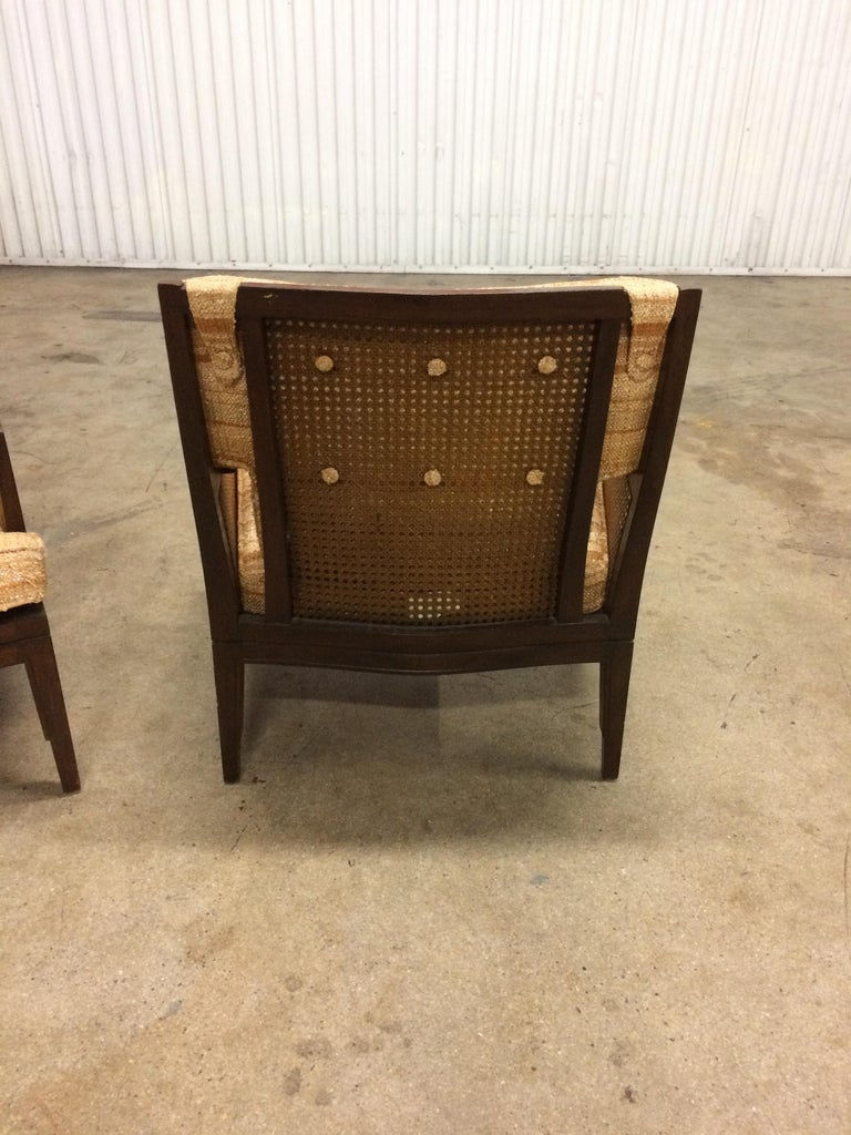 American Pair of Vintage Baker Cane and Mahogany Lounge Chairs, 1960s For Sale