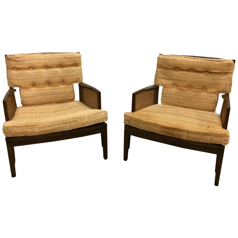 Pair of Vintage Baker Cane and Mahogany Lounge Chairs, 1960s For Sale