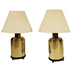 Pair of Vintage Brass Tea Canister Table Lamps