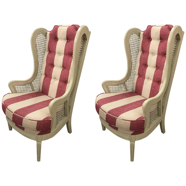 Pair of Vintage Caned Wingback Chairs