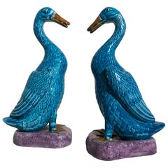 Pair of Vintage Chinese Export Turquoise Glazed Ducks, 1970s