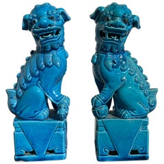 Pair of Vintage Chinese Turquoise Glazed Foo Dogs, 1970s, Hong Kong