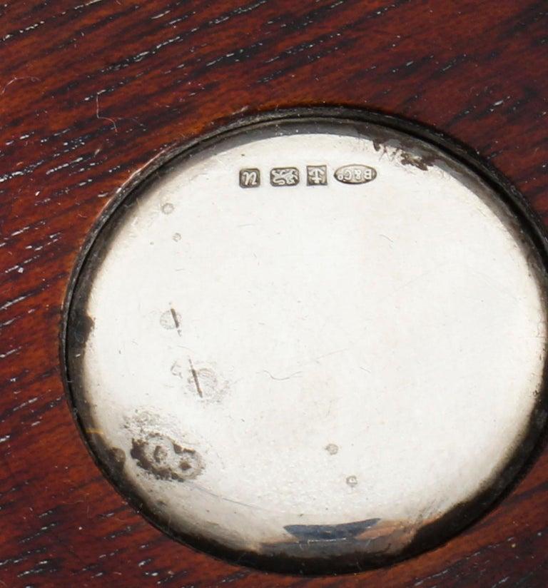 Pair of Vintage Circular Sterling Silver Coasters, Birmingham, 20th Century For Sale 4