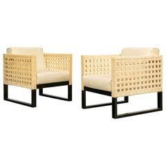 Pair of Vintage Ecru Parchment Skin Club Chairs