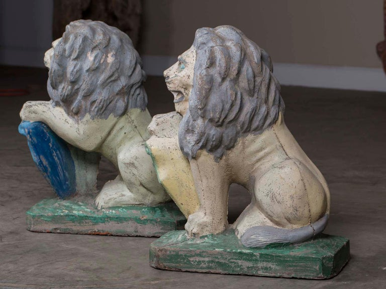 Pair of Vintage English French Garden Ornament Cast Stone Lions, circa 1930 For Sale 5