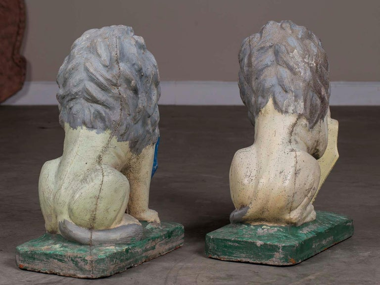 Pair of Vintage English French Garden Ornament Cast Stone Lions, circa 1930 For Sale 7