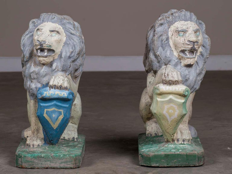 Romantic Pair of Vintage English French Garden Ornament Cast Stone Lions, circa 1930 For Sale