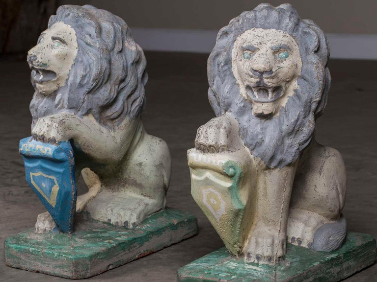 20th Century Pair of Vintage English French Garden Ornament Cast Stone Lions, circa 1930 For Sale