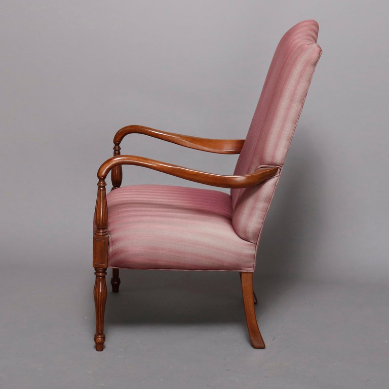 Carved Pair of Vintage English Style Lolling Chairs Upholstered Mahogany Armchairs For Sale