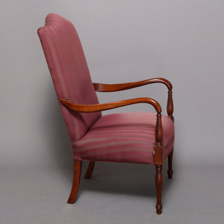 Upholstery Pair of Vintage English Style Lolling Chairs Upholstered Mahogany Armchairs For Sale