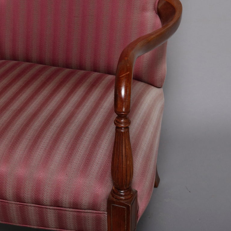 Pair of Vintage English Style Lolling Chairs Upholstered Mahogany Armchairs For Sale 1