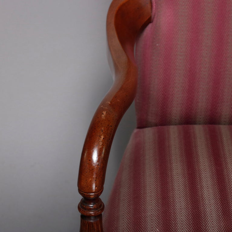Pair of Vintage English Style Lolling Chairs Upholstered Mahogany Armchairs For Sale 3