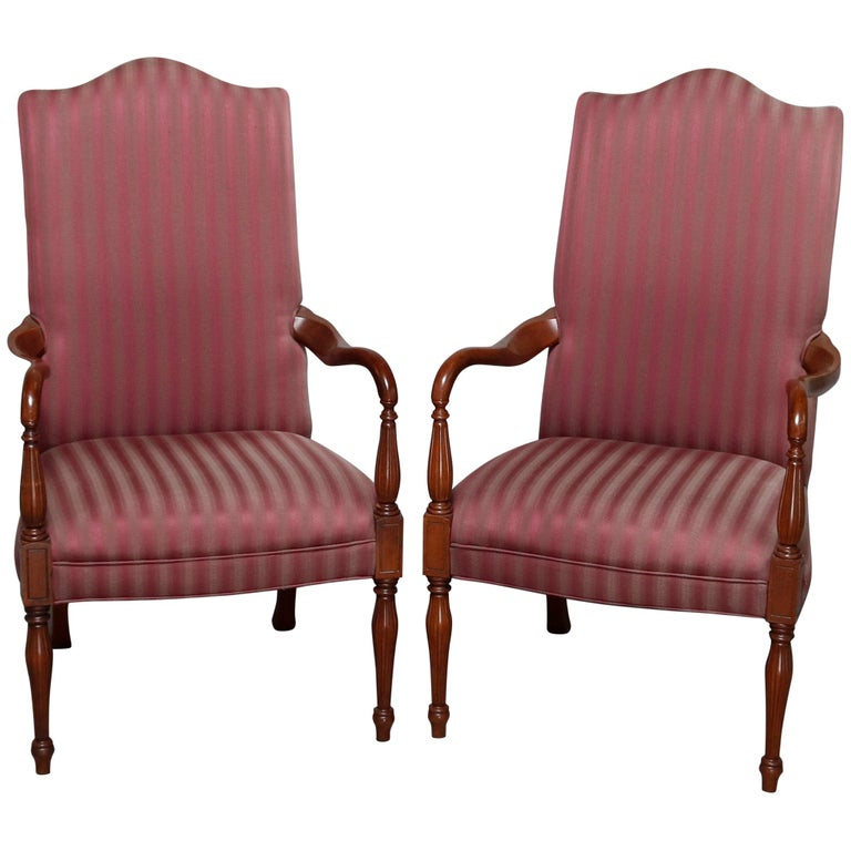 Pair of Vintage English Style Lolling Chairs Upholstered Mahogany Armchairs For Sale