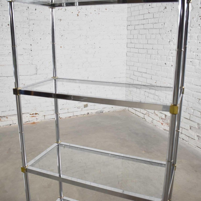 Vintage Étagère Display Shelves Chrome and Brass, Manner of Maison Jansen, Pair For Sale 6