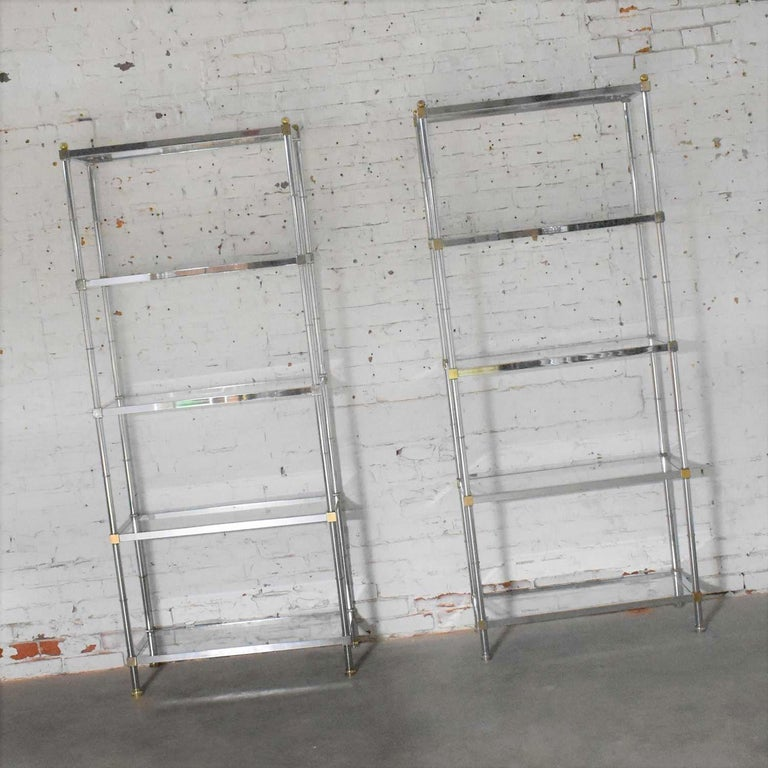 Vintage Étagère Display Shelves Chrome and Brass, Manner of Maison Jansen, Pair For Sale 8
