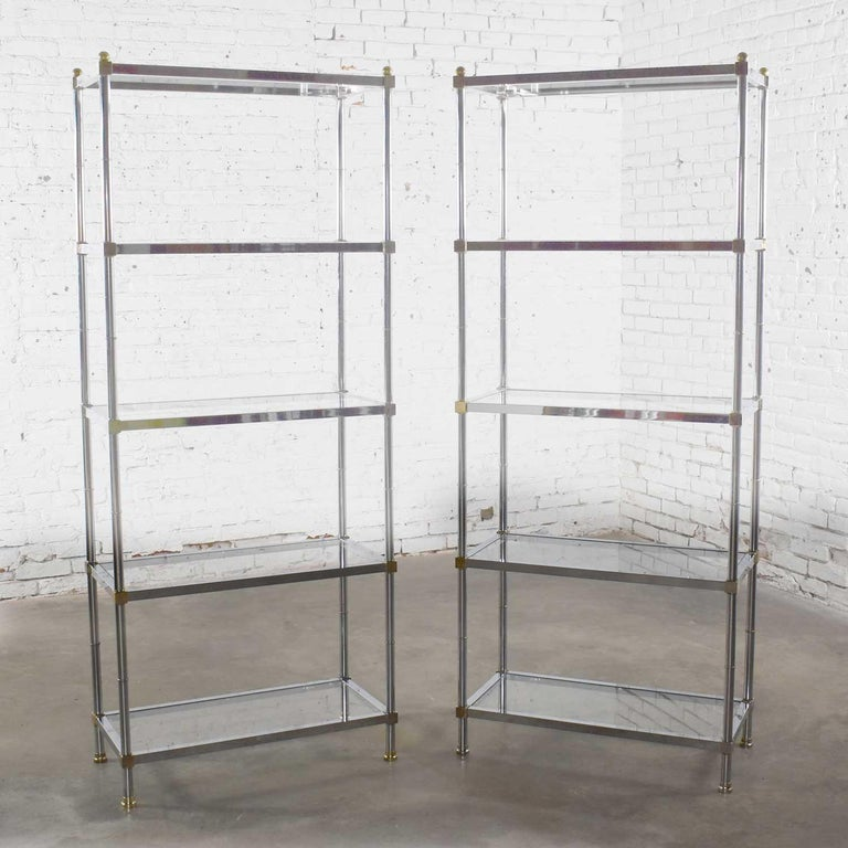 Modern Vintage Étagère Display Shelves Chrome and Brass, Manner of Maison Jansen, Pair For Sale