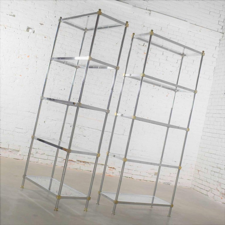 20th Century Vintage Étagère Display Shelves Chrome and Brass, Manner of Maison Jansen, Pair For Sale
