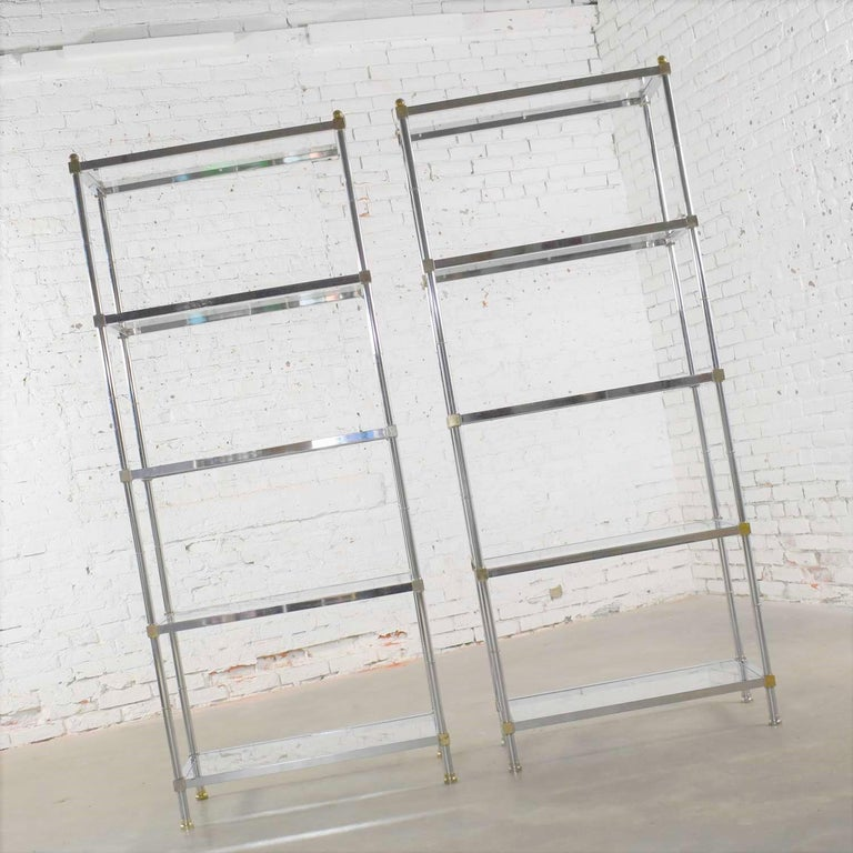 Vintage Étagère Display Shelves Chrome and Brass, Manner of Maison Jansen, Pair For Sale 1