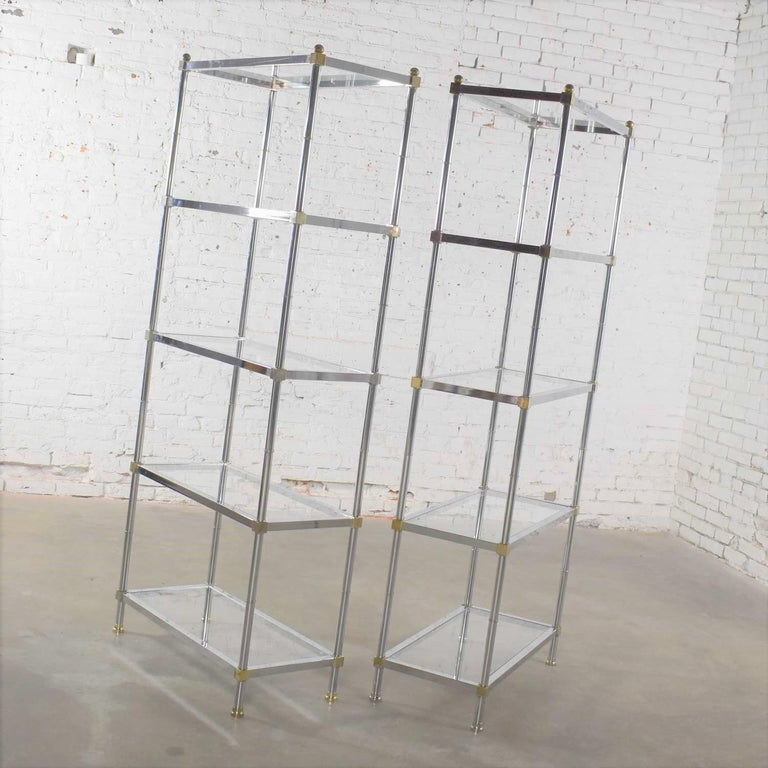 Vintage Étagère Display Shelves Chrome and Brass, Manner of Maison Jansen, Pair For Sale 2