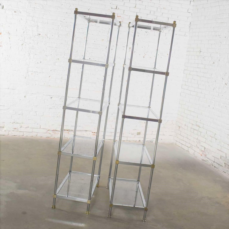 Vintage Étagère Display Shelves Chrome and Brass, Manner of Maison Jansen, Pair For Sale 3