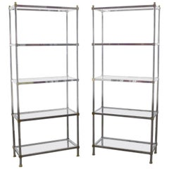 Vintage Étagère Display Shelves Chrome and Brass, Manner of Maison Jansen, Pair