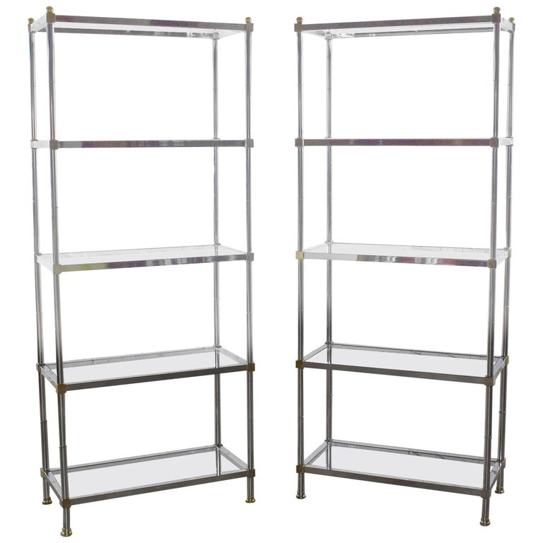 Vintage Étagère Display Shelves Chrome and Brass, Manner of Maison Jansen, Pair For Sale