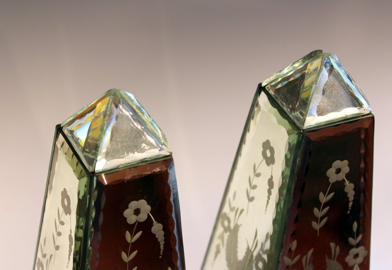 Pair of Vintage Etched Mirrored Obelisks Antique Venetian Style For Sale 3
