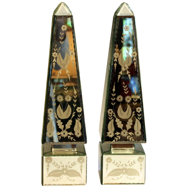 Pair of Vintage Etched Mirrored Obelisks Antique Venetian Style For Sale