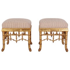 Pair of Vintage Faux Bamboo Giltwood Stools