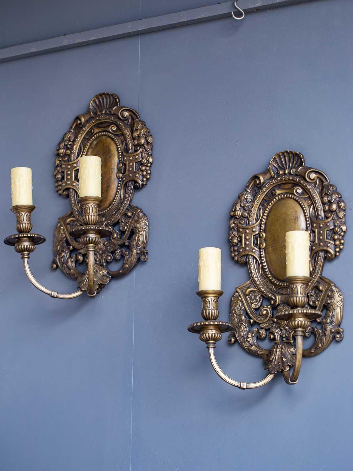 Decorative Arts Incredible Massive Pair Of Louis Xiv Style Dore Bronze Sconces With Lions 1880
