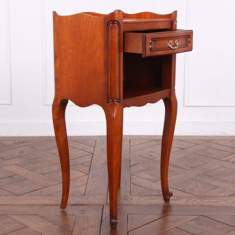 Pair of Vintage French Cherry Nightstands In Good Condition For Sale In Vancouver, British Columbia