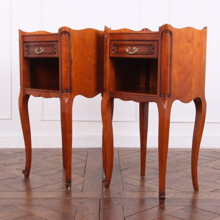 Pair of Vintage French Cherry Nightstands For Sale 2