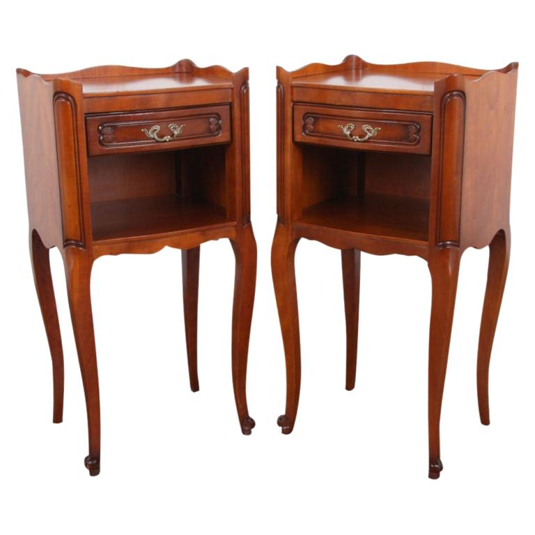 Pair of Vintage French Cherry Nightstands For Sale