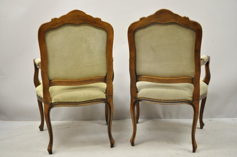 Vintage French Provincial Louis XV Style Italian Armchairs by Chateau D'ax, Pair For Sale 5