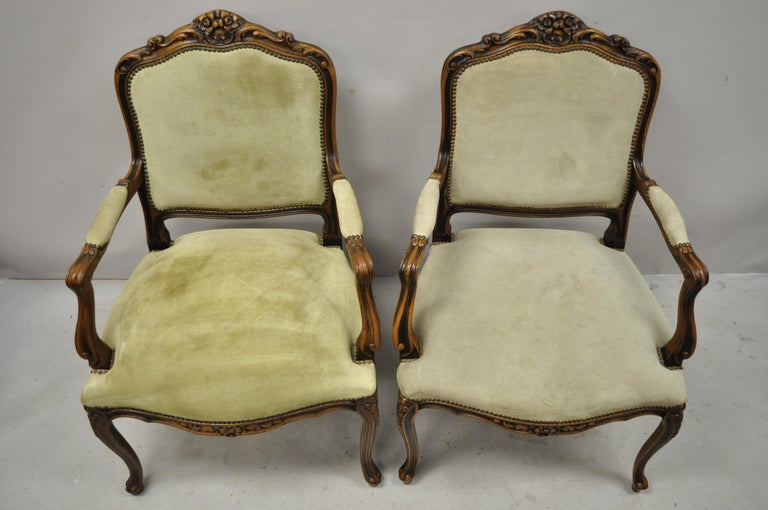 20th Century Vintage French Provincial Louis XV Style Italian Armchairs by Chateau D'ax, Pair For Sale