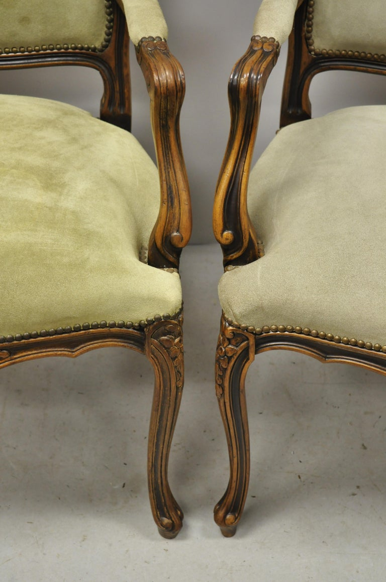 Vintage French Provincial Louis XV Style Italian Armchairs by Chateau D'ax, Pair For Sale 1