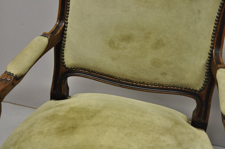 Vintage French Provincial Louis XV Style Italian Armchairs by Chateau D'ax, Pair For Sale 2