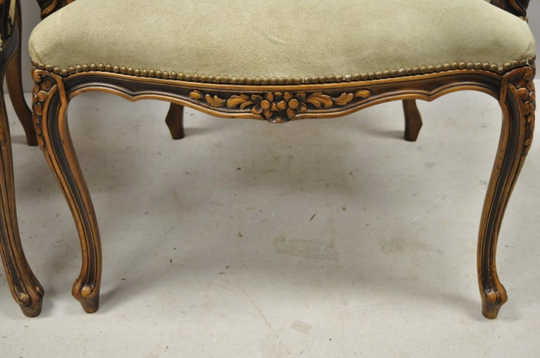 Vintage French Provincial Louis XV Style Italian Armchairs by Chateau D'ax, Pair For Sale 3
