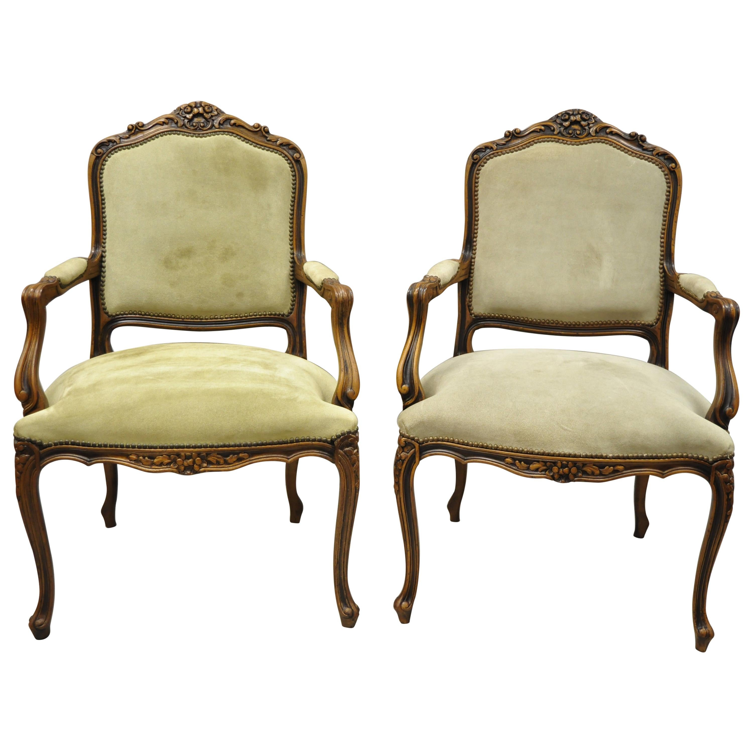 Vintage French Provincial Louis XV Style Italian Armchairs by Chateau D'ax, Pair