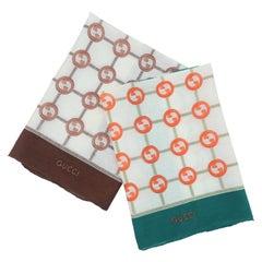 Pair Vintage Gucci Cotton Logo Pocket Square Handkerchief Scarf