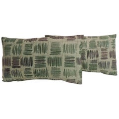 Pair of Vintage Hand-Blocked Green and Brown Decorative Lumbar Pillows
