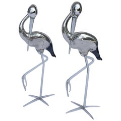 Pair of Vintage Hand Blown Mirrored Glass Storks
