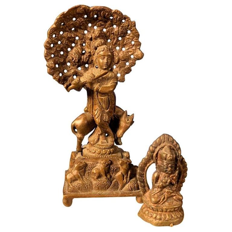 Vintage Hand Cast Bronze Indian Krishna Player Tibetan Attendant Dharmapala Pair For Sale