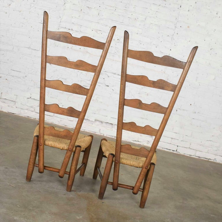 Pair of Vintage Fireside Ladderback Chairs by Gio Ponti for Casa e Giardino For Sale 4